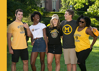 Photo of Mizzou students wearing clothes with historical Mizzou marks