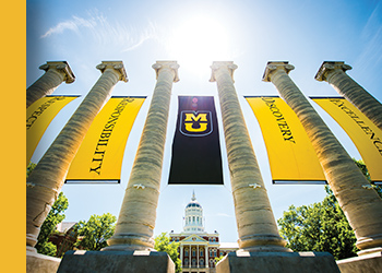 Photo of the six Mizzou columns with banners hanging between each column.